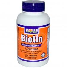 Биотин (Now Foods), 5000мкг, 120 шт.